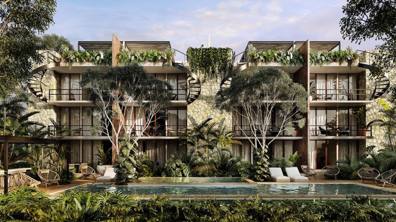 En venta departamento de lujo de 2 recamarás, estilo Eco Chic, en Riviera Maya, en Tulum